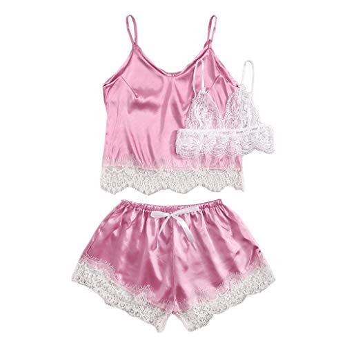 ABsoar Negligees Damen 3PC Satin Seidenimitat Set Frauen Nachtwäsche Dessous Mode Lace Bowknot Camisole Shorts Set Pyjamas Dessous Set -