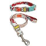 Lieblichkeit Hundeleine und Halsband Set Bulldogge Bunt Drucken Hundführleine 1.2M Halskette Verstellbare für Welpen Klein Mittlere Hunde Walking Leine mit Hundehalsband (L, D- rot)