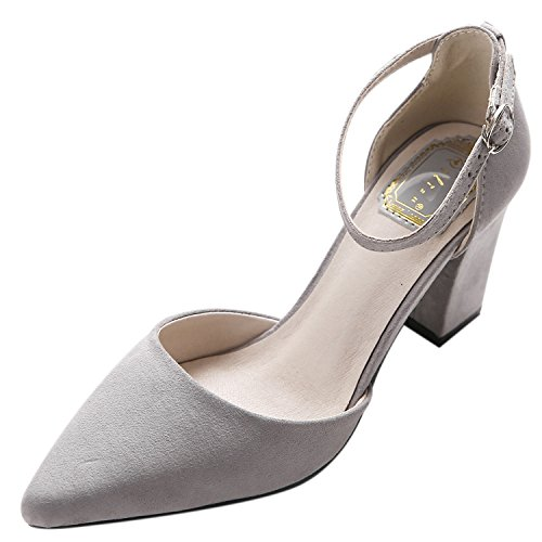 Oasap Women's Pointed Toe High Heels Ankle Buckle Solid Pumps Grey