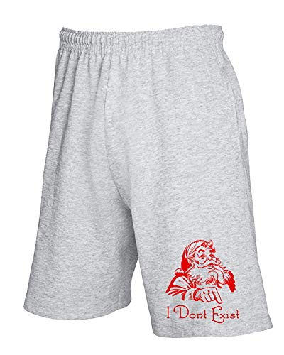 T-Shirtshock Jogginghose Shorts Grau FUN3376 Santa Clause I Dont Exist -