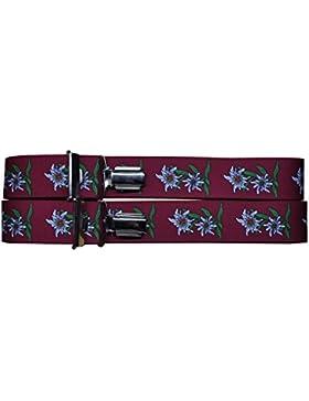 Trachten Hosenträger mit Edelweißaufdruck Rot, Grün, Blau, Schwarz AT-100