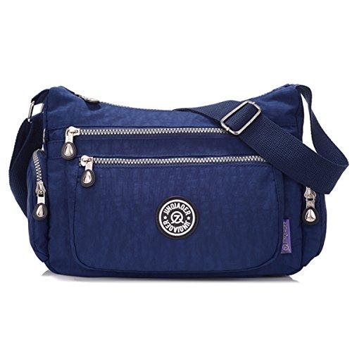Tiny Chou leicht wasserdicht Nylon Schultertasche Umhängetasche Messenger Tasche mit vielen Reißverschluss Taschen, Blau - Marineblau - Größe: (Double Reißverschluss Top Umhängetasche)