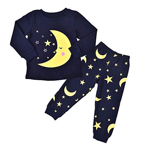 Ensembles de Bébé Garçon,Subfamily Unisexe Bébé Mignon Costume de Enfants Pyjama Garcon Naissance Pas Cher Top Manches Longues + Pantalon Impression de Lune pour 2-5ans