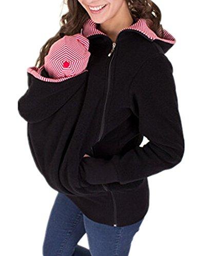 Outgobuy Women's Maternity Kangaroo Hoody Sweatshirt For Baby Carriers(Choose One Size Up) (Black, XXL)