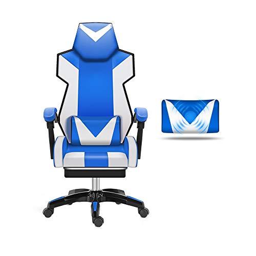 Bseack Drehstuhl Gaming Chair, Verstellbarer PU-Leder-Stuhl mit hoher Rückenlehne und Teleskop-Fußstütze mit Massage-Lordosenstütze (Farbe : Nylon feet) -