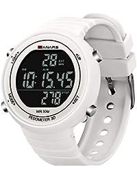 MNRIUOCII-Relojes Digital LED Impermeable Reloj Deportivo de Deportes Banda de PU Ajustable para Hombre