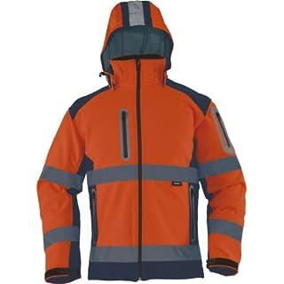 TRIUSO wasserabweisende Warnschutzsoftshelljacke mit heraustrennbarer Kapuze in orange VW177OS in Größe M