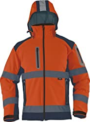 TRIUSO wasserabweisende Warnschutzsoftshelljacke mit heraustrennbarer Kapuze in orange VW177OS in Größe XL