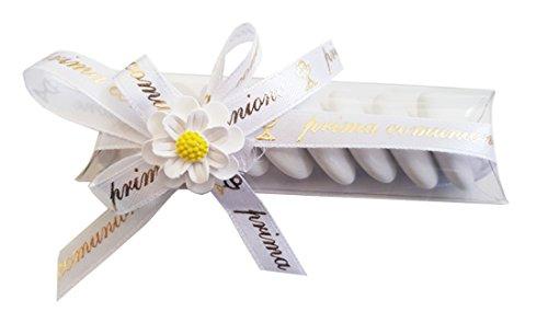Irpot - kit 20 porta confetti prima comunione 05210 + gessetti + bigliettini + nastrino (fiore 1090325)