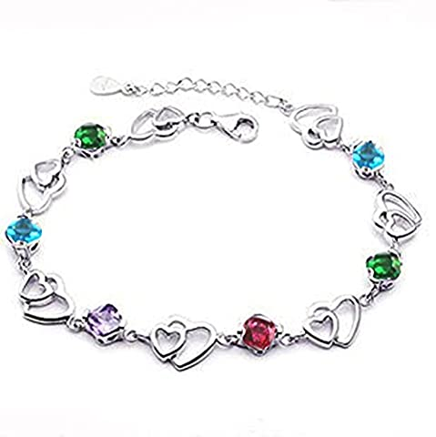 findout swarovski element Amethyst red pink blue white Crystal Heart Silver bracelet ,for women girls. (Multi-colored)