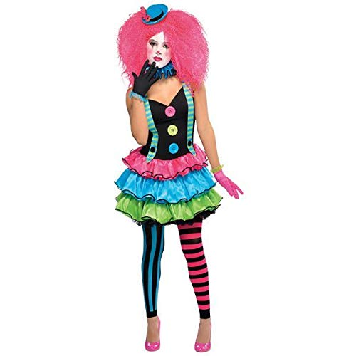 Circus Clown + Hat Girls Fancy Dress Halloween Carnival Teens Childrens ()