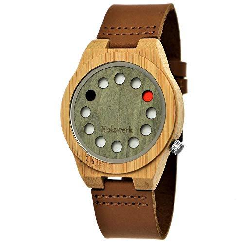 Handgefertigte Holzwerk Germany® Designer Unisex Damen-Uhr Herren-Uhr Öko Natur Holz-Uhr Leder Armband-Uhr Analog Klassisch Quarz-Uhr Future Edition Braun Grün