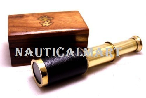 6 HANDHELD BRASS TELESCOPE WITH WOODEN BOX - PIRATE NAVIGATION CLEAR WOODEN BOX BY KRISHNA MART