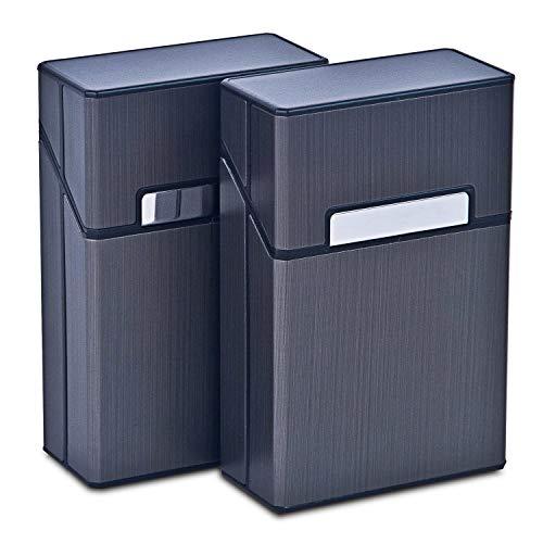 TRAVELFANCY® Zigarettenetui [2er Set] Mit Magnetverschluss [Modell 2019] Mit Edlem Metall Rahmen, Verstärktem Kunststoffgehäuse & Einrast Funktion Für 20er Standard Schachteln