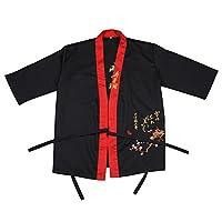 Sotoboo New Japan Style Chef Uniform Japanese Chefs Apparel chefs jackets Japanese style Kitchen Clothes Restaurant Sushi Clothing Unisex Waiter Uniform (XL, Black)