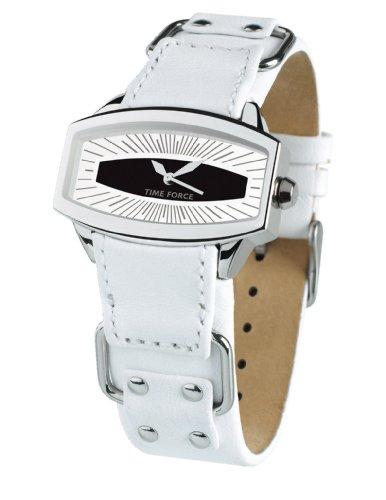 Time Force - TF2996L02 - Montre femme - Quartz Analogique - Cadran Noir et blanc - Bracelet en Cuir Blanc
