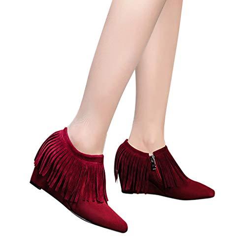 TianWlio Frauen Herbst Winter Stiefel Schuhe Stiefeletten Boots Keile High Heel Schuhe Stiefel Quaste Stiefeletten Seitlicher Reißverschluss Kurze Stiefel Wein 39