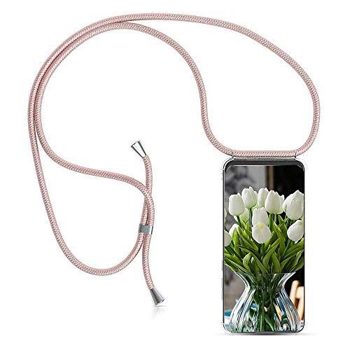 ZHXMALL Unisex Crossbody Handykette für Samsung Galaxy A5 2017, Pouch Bag Mode-Accessoire Handytasche mit 1.5m Verstellbarer Schultergurt für Junge Männer und Frauen Clear Minimalistischer TPU Hülle