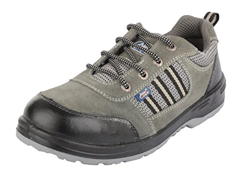 Allen Cooper Men's Grey & Black Suede Leather Safety Shoes - 9 UK