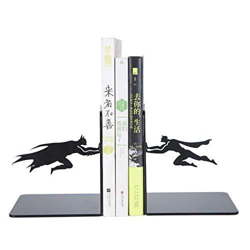 Bookends Buchstützen Batman Verdickung Metall Buchstützen Buchstütze Perfekt Für Schule Büro Bibliothek Dekor Kinder Geschenk Black-12 * 12 * 13.5cm -