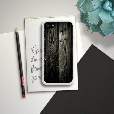Apple iPhone 5 Housse Outdoor Étui militaire Coque Look ébène Bois noir Paroi en bois Housse en silicone blanc