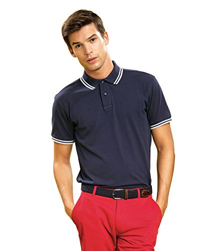 Asquith & Fox Mens Classic Fit Tipped Polo - 14 Colours/Sml-3XL Navy/ Cornflower