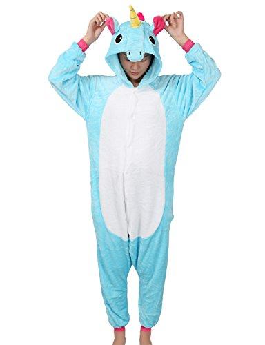 (Einhorn Kostüm Pyjamas Tierkostüm Schlafanzug Verkleiden Cosplay Kostüm zum Karneval Fasching, blau Pferd, Gr. L)