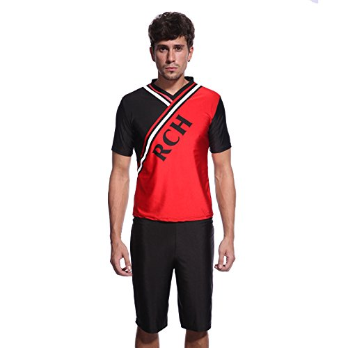 Herren Jungen Cheerleader Kostuem Cheerleading Team Uniform Sporthose Sport Shirt Fitness Gogo Hose Gr M ¡ (Hose Shirt Uniform)
