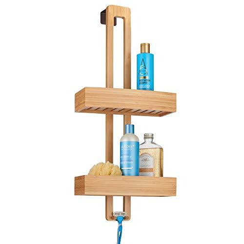 mDesign Duschablage zum Hängen – praktisches Duschregal ohne Bohren zu montieren – Duschkörbe zum Hängen aus Metall und Holz für sämtliches Duschzubehör – bambusfarben