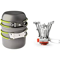 Fornello da campeggio + Pot Pan, sanmersen portatile Pentole campeggio trekking cottura stufa butano/propano bruciatore per bombola a gas con accensione piezoelettrica - Fuel Bowl