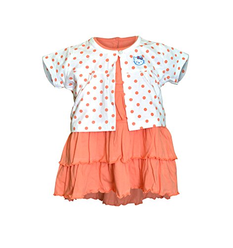 Orange and Orchid Baby Girls Cotton Frock (Orange, 2-3 Years)
