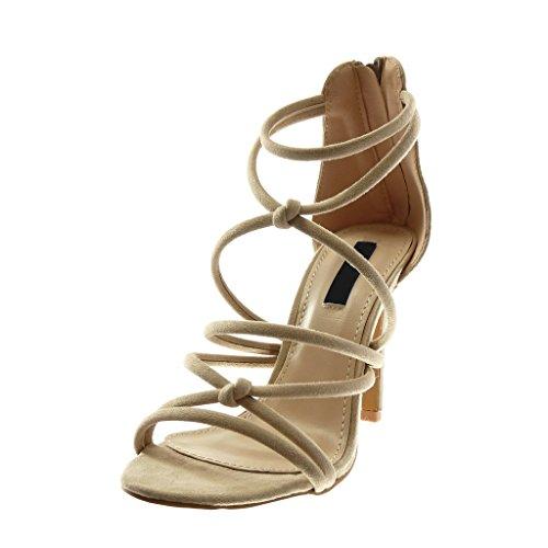 Angkorly Scarpe Moda Sandali Scarpe Decollete Stiletto Donna Multi-Briglia Tacco Stiletto Alto 10 cm Beige