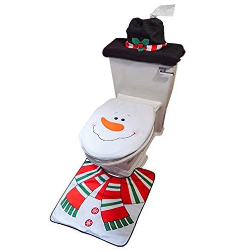 Schneemann Santa Claus WC-Deckel und Teppich Dekoration Weihnachtsdeko Badezimmer Set 3-teilig