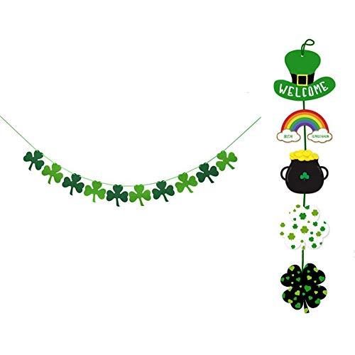 RareLove Deko-Set für St. Patrick's Day, Kleeblatt, Kleeblatt, Banner zum Aufhängen, 2 Stück (St Patricks Day Fahne Garten)