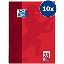 Oxford 100050361 Collegeblock Schule 10er Pack A4 kariert mit Doppelrand 80 Blatt gelocht rot