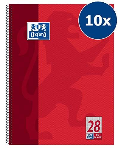 4 Im Rand (Oxford 100050361 Collegeblock Schule 10er Pack A4 kariert mit Doppelrand 80 Blatt gelocht rot)