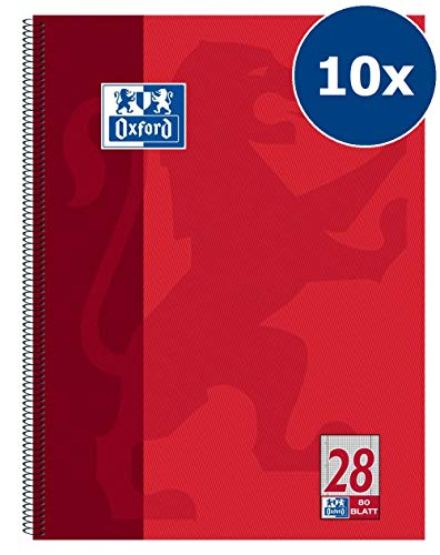 Oxford 100050361 Collegeblock Schule 10er Pack A4 kariert mit Doppelrand 80 Blatt gelocht rot Lo Oxford