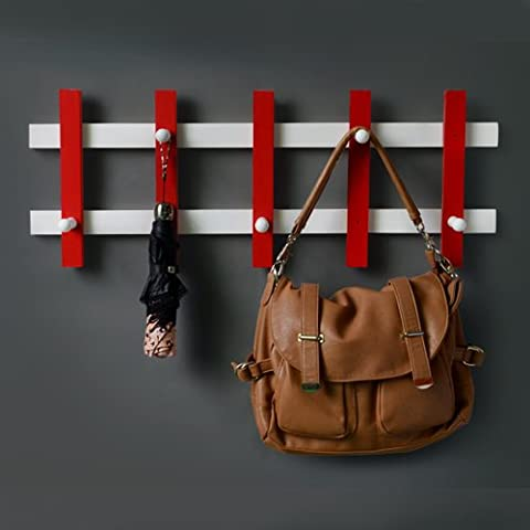 Camera da letto creativo girevole cappello appendiabiti a muro, montaggio a parete rack,5 gancio-rosso/bianco