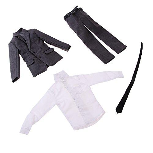 MagiDeal 1/6 Puppenkleidung Formal Anzug Set für 12 Zoll männliche Action Figur - Mantel + Hose + Hemd + Gürtel + Krawatte - Grau