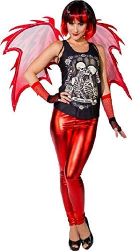 Ladies Modern Sexy Red Devil Demon With Wings Halloween Horror Fancy Dress Costume Outfit (UK 10-14)