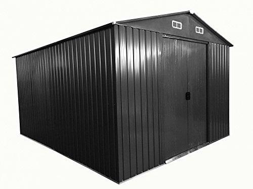 ASS Gartenhaus Geräteschuppen 13m² 3x4,5m aus verzinktem Stahlblech Metall Grau \'mit Großer Türe\' von