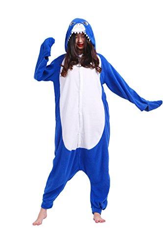 play Kostüme Kigurumi Tiere Schlafanzug Erwachsene Strampelanzug Anime Hoodie Nachtwäsche Blue Shark M (Shark Hoodie Halloween Kostüm)