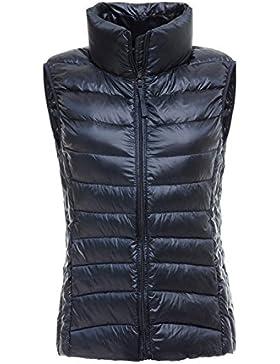 Women 's Stand Collar Full Zip Up Plegable Ultra Peso Ligero Acolchado Chaleco Abajo Chaqueta De Invierno