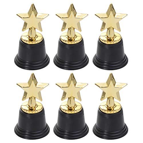 Toyvian Goldener Sterne-Trophäe, Belohnungspreise, Pokal, Wettkampf, Geschenke für Kinder, 4 Stück 34 Golden+Black
