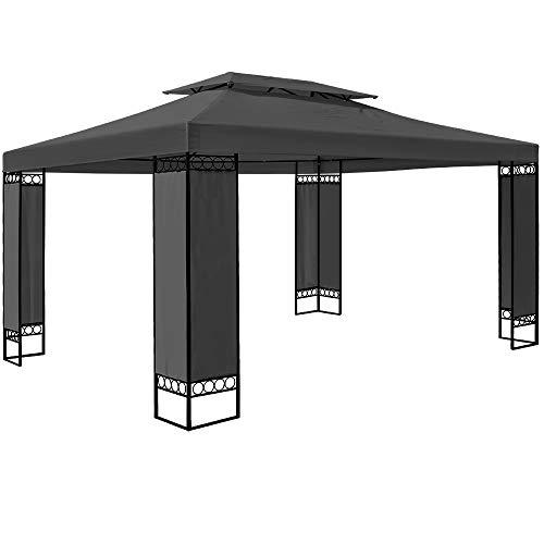 Deuba Pavillon Elda | 3x4m Seitenwände Eckig 12m² Festzelt Partyzelt Gartenlaube Gartenzelt Gartenpavillon Anthrazit
