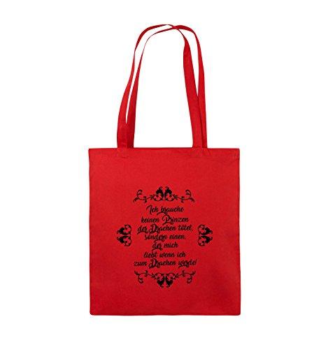 Comedy Bags - Ich brauchen keinen Prinzen der Drachen tötet - Jutebeutel - lange Henkel - 38x42cm - Farbe: Schwarz / Silber Rot / Schwarz