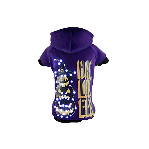 tung Halloween Happy Schneemann Hooded Sweater Pet Kostüm, Large, violett (Happy Halloween Kostüme Haustier)