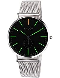Epoch 6025G 50m Wasserdicht Tritium grün leuchtende Ultrathin Case Schutzhülle Stahl Business Herren Quarzuhr Armbanduhr