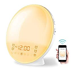 Home-Neat Smart Alarm Clock WiFi Wake Up Light Table Bedside Lamp [2019 New Generation] with FM Radio, Nature Sounds and Touch Control Function (WiFi Control)