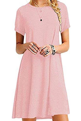 YMING Damen Lockeres Kleid Lose Blusenkeid Kurzarm Lange Shirt Casual Strickkleid Midi,Rosa,L / DE 40-42 (Baumwolle Rosa Shirt Kleid)